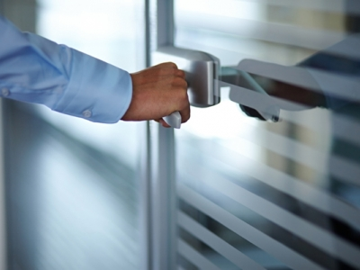 Hand opening office door